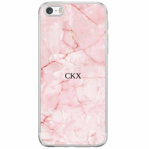 Casimoda iPhone 5/5S/SE siliconen hoesje naam - Marmer roze