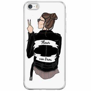 Casimoda iPhone 5/5S/SE siliconen hoesje naam - Badass babe brunette