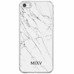 iPhone 5/5S/SE siliconen hoesje naam - Marmer grijs