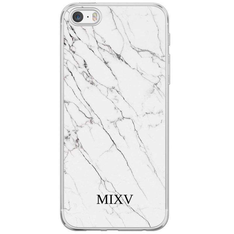 Casimoda iPhone 5/5S/SE siliconen hoesje naam - Marmer grijs