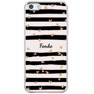 Casimoda iPhone 5/5S/SE siliconen hoesje naam - Hart streepjes