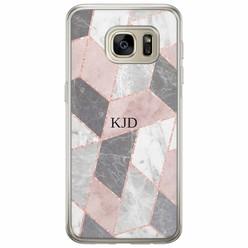 Samsung Galaxy S7 siliconen hoesje naam - Stone grid