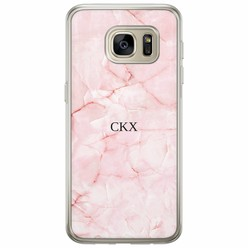Samsung Galaxy S7 siliconen hoesje naam - Marmer roze