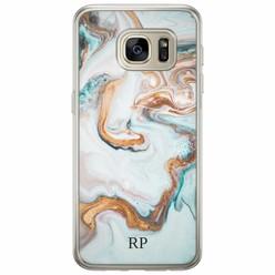 Samsung Galaxy S7 siliconen hoesje naam - Marmer blauw goud