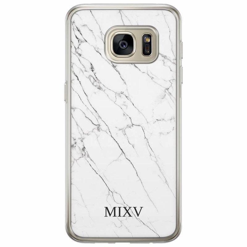 Casimoda Samsung Galaxy S7 siliconen hoesje naam - Marmer grijs