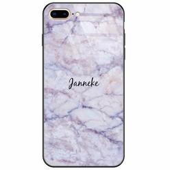 iPhone 8 Plus/7 Plus glazen case naam - Marmer paars