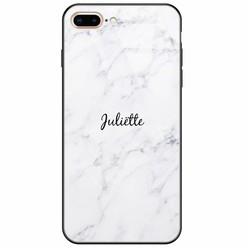 Casimoda iPhone 8 Plus/7 Plus glazen case naam - Marmer grijs