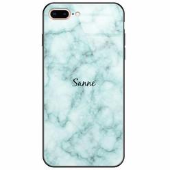 iPhone 8 Plus/7 Plus glazen case naam - Marmer mint