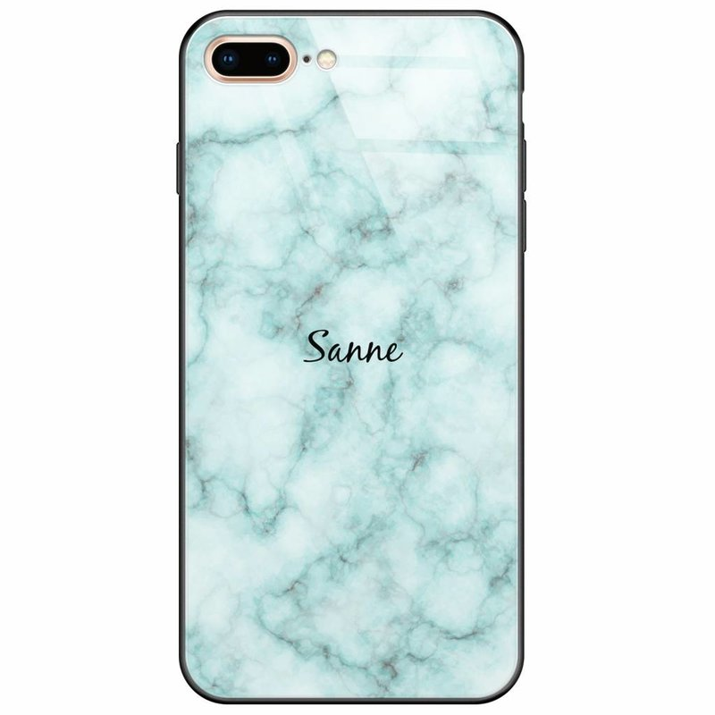 Casimoda iPhone 8 Plus/7 Plus glazen case naam - Marmer mint