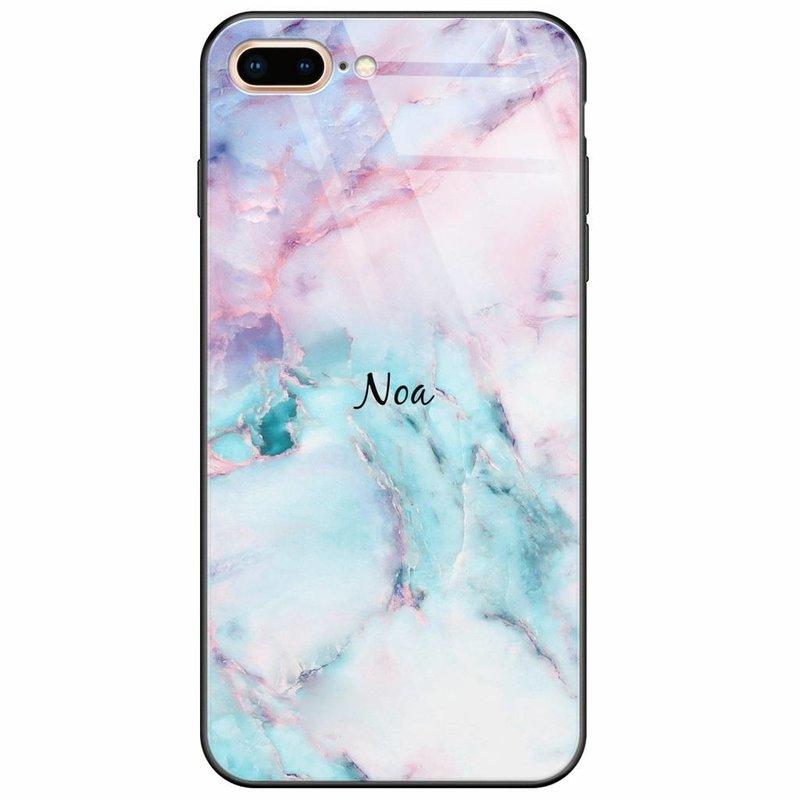 Casimoda iPhone 8 Plus/7 Plus glazen case naam - Marmer multi