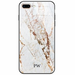 iPhone 8 Plus/7 Plus glazen case naam - Marmer goud