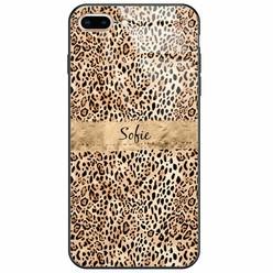 iPhone 8 Plus/7 Plus glazen case naam - Luipaard goud