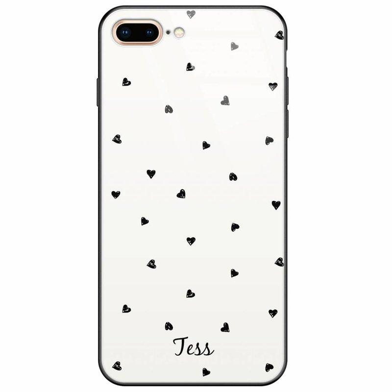 Casimoda iPhone 8 Plus/7 Plus glazen case naam - Hartjes