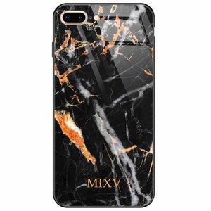 Casimoda iPhone 8 Plus/7 Plus glazen case naam - Marmer zwart oranje