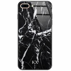 iPhone 8 Plus/7 Plus glazen case naam - Marmer zwart
