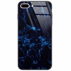 iPhone 8 Plus/7 Plus glazen case naam - Marmer zwart blauw