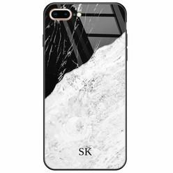iPhone 8 Plus/7 Plus glazen case naam - Marmer zwart grijs