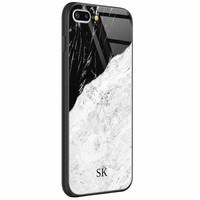 Casimoda iPhone 8 Plus/7 Plus glazen case naam - Marmer zwart grijs