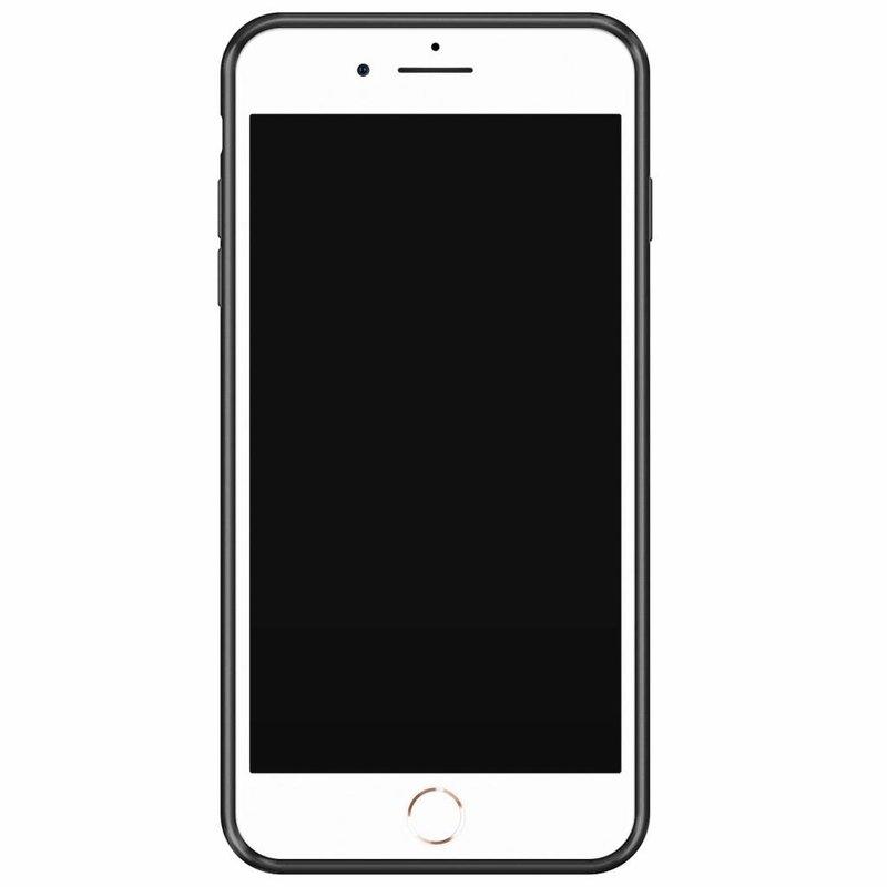 Casimoda iPhone 8 Plus/7 Plus glazen case naam - Marmer zwart blauw