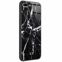 Casimoda iPhone 8 Plus/7 Plus glazen case naam - Marmer zwart