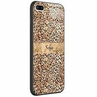 Casimoda iPhone 8 Plus/7 Plus glazen case naam - Luipaard goud