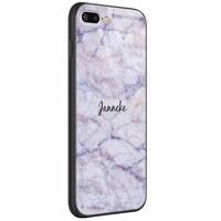 Casimoda iPhone 8 Plus/7 Plus glazen case naam - Marmer paars