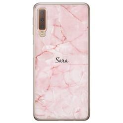 Samsung Galaxy A7 2018 hoesje naam - Marmer roze
