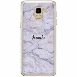 Casimoda Samsung Galaxy J6 2018 hoesje naam - Marmer paars