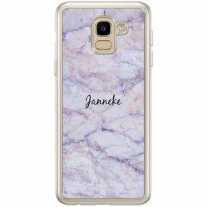 Samsung Galaxy J6 2018 hoesje naam - Marmer paars