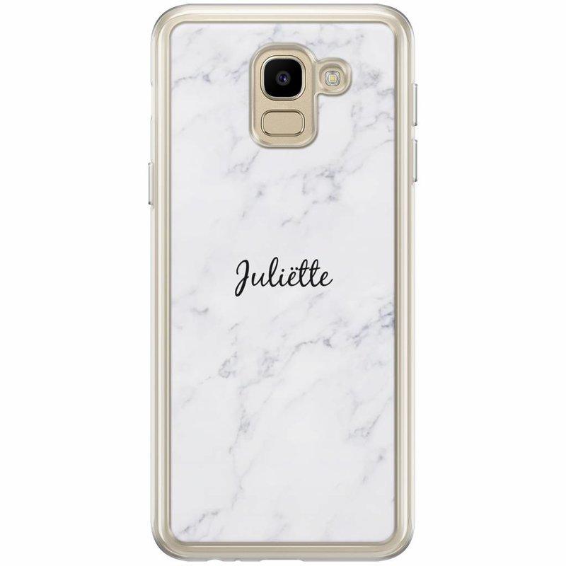 Casimoda Samsung Galaxy J6 2018 hoesje naam - Marmer grijs