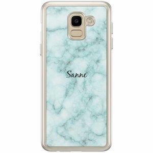Samsung Galaxy J6 2018 hoesje naam - Marmer mint