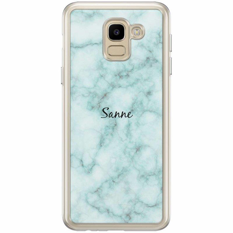 Casimoda Samsung Galaxy J6 2018 hoesje naam - Marmer mint