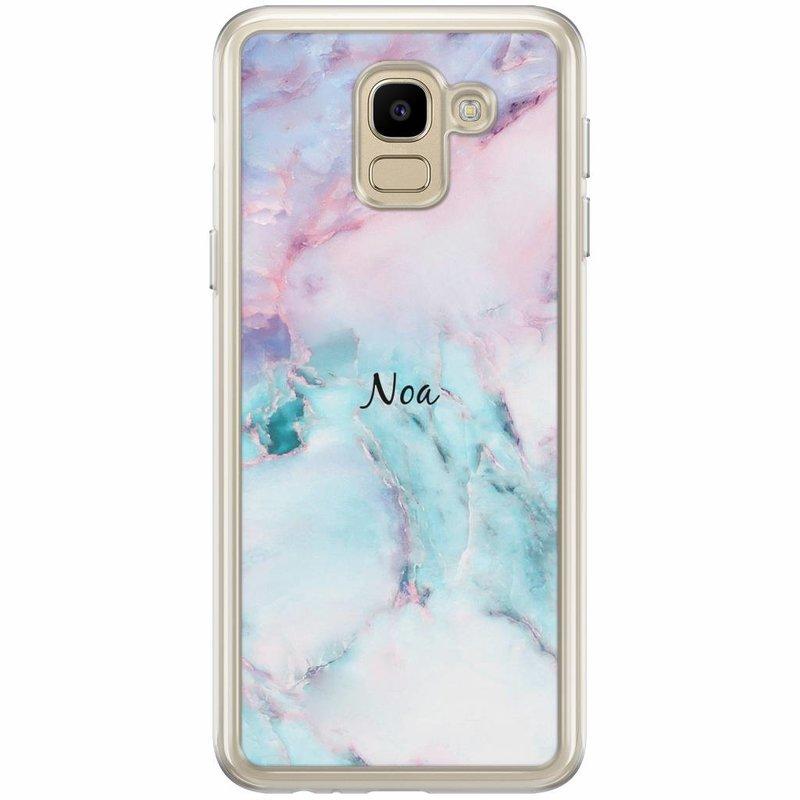 Casimoda Samsung Galaxy J6 2018 hoesje naam - Marmer multi