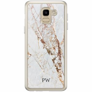 Samsung Galaxy J6 2018 hoesje naam - Marmer goud
