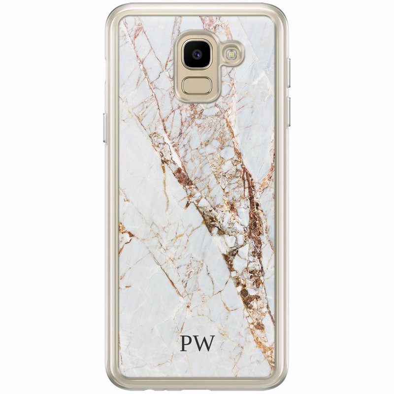 Casimoda Samsung Galaxy J6 2018 hoesje naam - Marmer goud