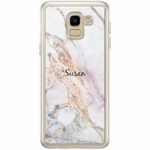 Samsung Galaxy J6 2018 hoesje naam - Parelmoer marmer