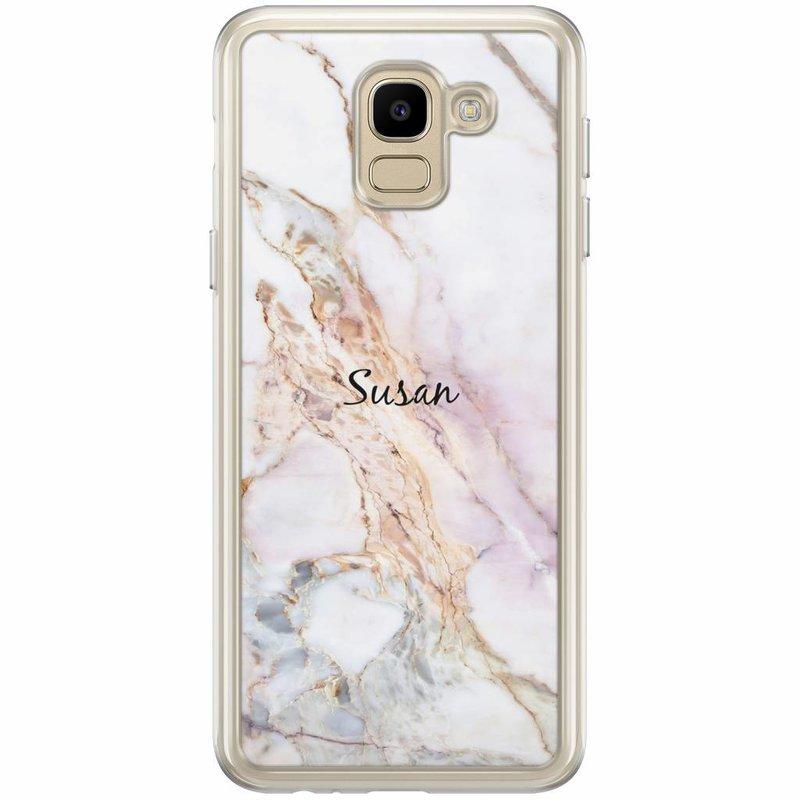 Casimoda Samsung Galaxy J6 2018 hoesje naam - Parelmoer marmer