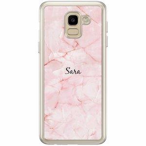 Samsung Galaxy J6 2018 hoesje naam - Marmer roze