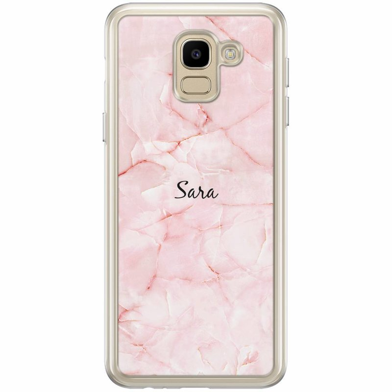 Casimoda Samsung Galaxy J6 2018 hoesje naam - Marmer roze
