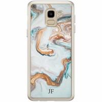 Casimoda Samsung Galaxy J6 2018 hoesje naam - Marmer blauw goud