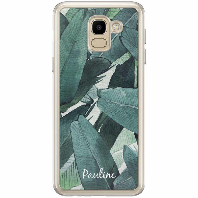 Casimoda Samsung Galaxy J6 2018 hoesje naam - Palmbladeren