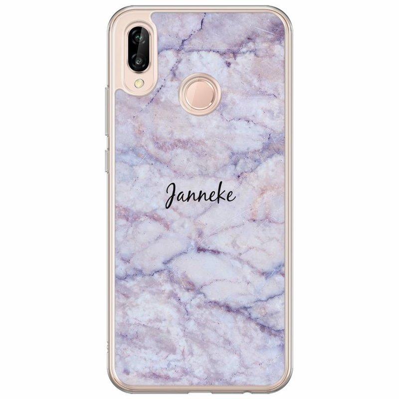 Casimoda Huawei P20 Lite hoesje naam - Marmer paars