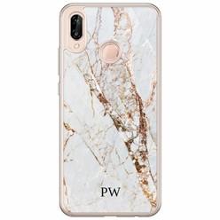 Huawei P20 Lite hoesje naam - Marmer goud