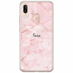 Casimoda Huawei P20 Lite hoesje naam - Marmer roze