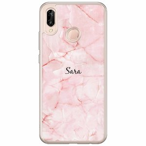 Huawei P20 Lite hoesje naam - Marmer roze