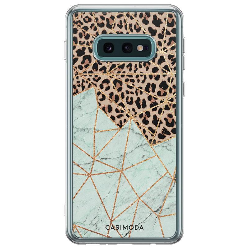 Casimoda Samsung Galaxy S10e siliconen hoesje - Luipaard marmer mint