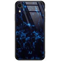 iPhone XR glazen case naam - Marmer zwart blauw