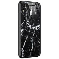 iPhone XR glazen case naam - Marmer zwart