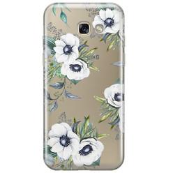 Samsung Galaxy A5 2017 transparant hoesje - Bloemenprint wit