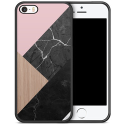 iPhone 5/5S/SE hoesje - Marble wooden mix